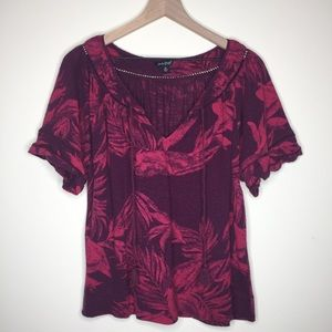 Lucky Brand | Pink Floral Burnout Linen Top Size M